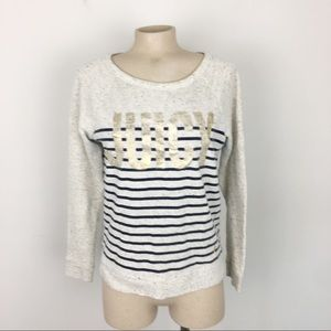 Juicy Couture Logo Striped Beige & Navy Sweater M